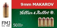 Sellier & Bellot 9mm MAKAROV FMJ 6.1g 50ks