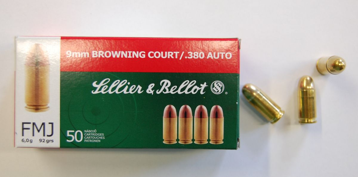 Sellier & Bellot 9 mm BROWNING COURT / 380 AUTO FMJ 6g 92 GRS 50ks Sellier & Bellot, a.s.
